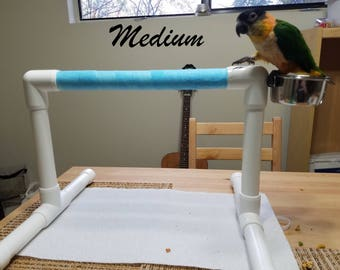 THE MOVER: Portable Parrot Perch w/ Cup(s) PVC