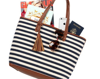 Chandler Viv & Lou® Tote Bag, Chandler Stripe Tote, Monogram Tote Bag, Monogram Stripe Tote, Personalized Navy Tote, Personalized Tote Bag