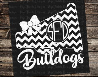 Bulldog Cheer Monogram (other teams avail upon request)SVG, JPG, PNG, Studio.3 File for Silhouette, Cameo, Cricut Chevron Megaphone