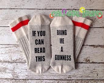 Guinness Gift Idea Black Friday Christmas Gift Idea Bring me Wine Socks Wool Stocking Stuffer BFF Gift Beer Gift for Him Bachelor Gift Gag
