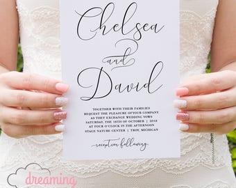 Black and White Handwriting Script Wedding Invitation Set - Modern and Contemporary!