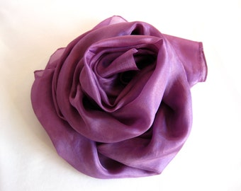 Aubergine Purple Silk Scarf