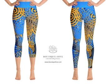 Colorful Ripples Printed Leggings - Yoga Leggings - Capri - by BoutiqueHive