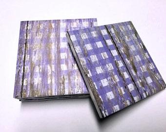 Purple Checkered Coasters - Purple Home Decor - Rustic Home Decor - Drink Coasters - Tile Coasters - Ceramic Coasters - Table Coasters