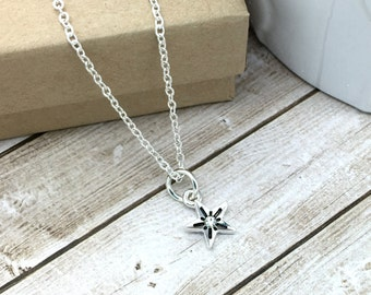 Tiny Star Necklace, Teacher Christmas Gifts, Christmas jewelry, tiny silver star with CZ accent, simple dainty necklace, layering necklace,