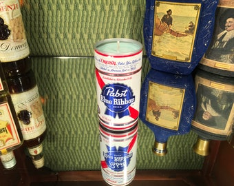 Vintage PBR beer can w a soy Lemon Eucalyptus candle