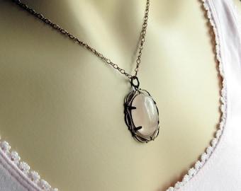 Rose Quartz Pendant, Pink Necklace, Pink Gemstone Necklace