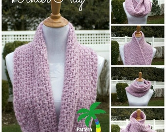 Crochet Pattern Cowl Scarf, Winter Hug PDF 14-164