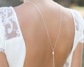 """""""ADAMA"""" backless jewelry with pearls necklace"""
