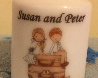 10 x Personalised just married couple wedding candle favours 7.5cm x 5.5cm