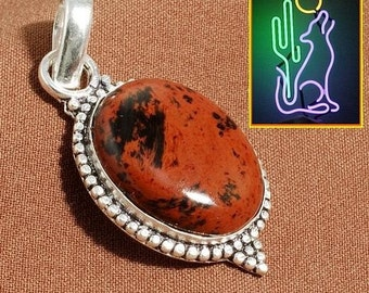 Sterling Silver Mahogany Obsidian Gemstone Pendant Necklace on 18 inch 2 mm Snake Chain
