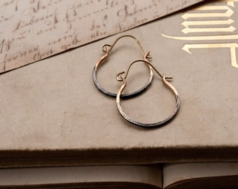 Rustic hammered brass hoop earrings, ombre sleepers, small size hoops.