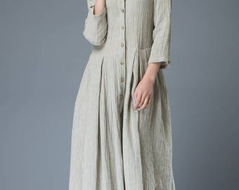 plus size clothing, linen dress, gray linen shirt dress, plus linen dress, maxi dress, long linen dress, woman dress maxi (C816)