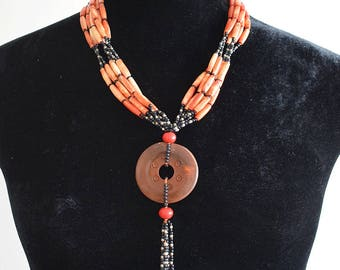 Vintage 1970s Orange and Black Ethnic Necklace