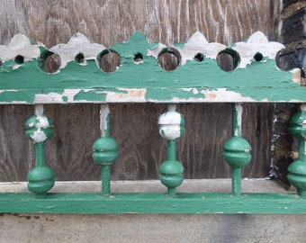 Old Wood rail Architectural salvage pediment Gingerbread Chippy green Restoration supplies Spindles decorative balusters railing