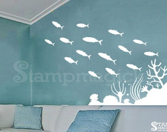 School of Fish Wall Decal - Ocean Sea Scene Wall Decal - Removable Vinyl Wall Decor Graphics - K179