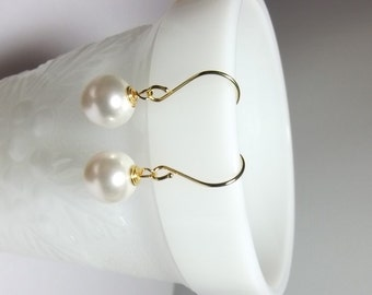 Swarovski White Pearl Drop Earrings, Mothers Day, Wedding Mom Sister Grandmother Jewelry, Christmas Gift, Bridesmaid Earrings, Gold