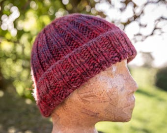 Classic Fit Rib Beanie Hat - Bracken - Luxury Chunky Wool Blend, womens hat; READY TO SHIP