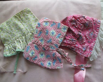 Reserved, Vintage Antique Doll Clothing: Trio of Bonnets, Feed sacks.