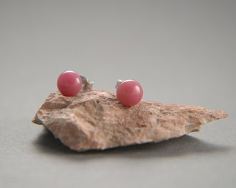 Plum pink fused glass stud earrings with surgical steel