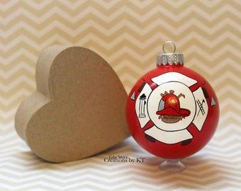 Custom Fire Department Ornament READY TO SHIP Firefighter Fire Emblem Glass Christmas Bauble Hand Painted Fire Wife Girlfriend Wedding