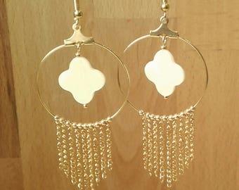 Mother of Pearl Gold cross hoop earrings