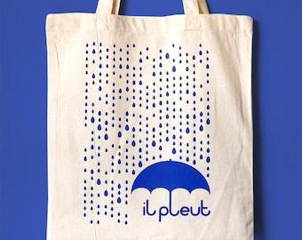Rain Tote Bag, Screenprint Tote, French Quote Tote, Raindrops Tote, Umbrella Tote, Typography Tote Bag, Cute Tote Bag, France Tote, Rain Bag