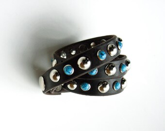 Turquoise Leather Bracelet, Triple Wrap Leather Bracelet, Silver and Turquoise Stud Bracelet, Wrap Leather Bracelet, Biker Boho Gypsy Cuff