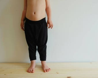 Organic Harem Pants - Baby Harem Leggings - Organic Baby Leggings - Toddler Harems - Hipster Baby - Toddler Gift - Black Harem Toddler Pant