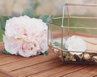 Conservatory Envelope Holder, Wedding Card Box, Wishing Well Box, Glass Money Box, Sweetheart Table Centerpiece, Geometric Wedding Decor