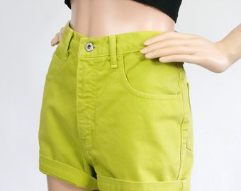 Vintage 90s Guess Jean Shorts / High Waisted Denim Shorts / Citrus Green Chartreuse / 1990s Revival Grunge / Summer Festival Shorts / Small