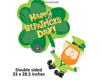 Happy St Patricks Day balloon, shamrock, leprechaun, clover, Irish Saint Pattys Day, green, paddys, fun, orange beard, party decorations