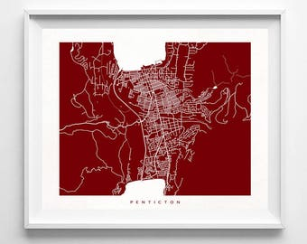 Penticton Map, Canada Print, Penticton Poster, British Columbia, Art, Anniversary Gift, Dorm Wall Decor, Wedding Gift, Mothers Day Gift