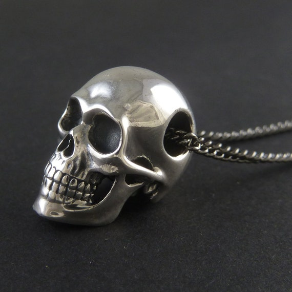 Skull necklace sterling silver human skull pendant on 24 skull necklace sterling silver human skull pendant on 24 gunmetal chain the silver skull mozeypictures Image collections