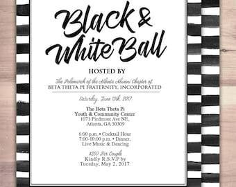 Black and white party, Prom, Anniversary Party Invite, save the date, wedding invitation, engagement, shower invite,  bridal shower