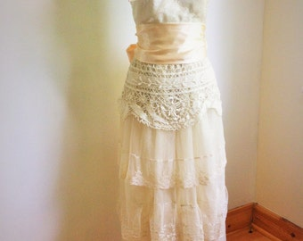Ivory lace boho wedding dress with vintage lace