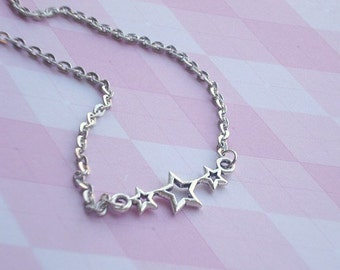 Star Necklace Silver Star Pendant Star Jewelry Star Choker Three Star Necklace Star Jewlery