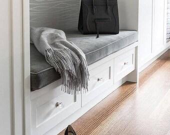 Designer Bench Cushion Cover Grey Velvet Fabric Wt Matching Piping Zipper  Indoor (Window, Mudroom