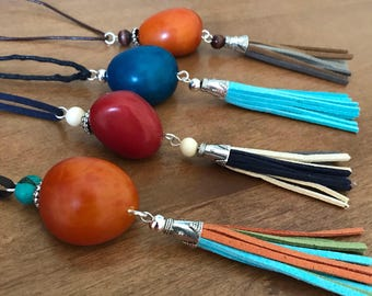 Red Tassel Necklace, Tagua Necklace, Eco friendly Necklace, Eco Necklace, Tagua Jewelry Tagua nut jewelry, Tassel Jewelry