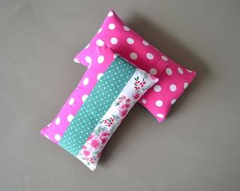 bright flower power lumbar pillow cover - floral retro polkadot pattern - set of 2x - pink and emerald green - lumbar pillow cushion cover