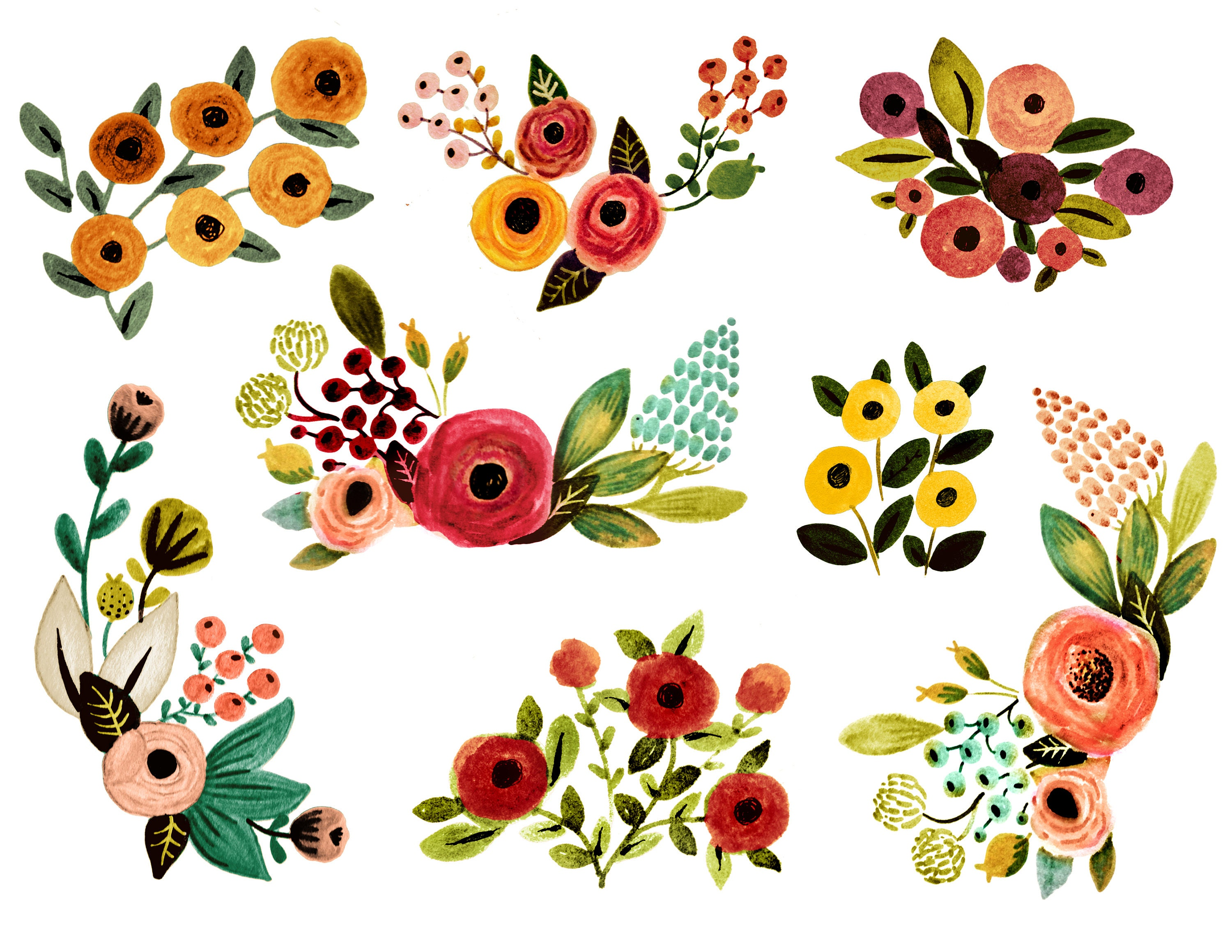 floral clipart watercolor floral clipart fall florals rh etsy com floral clipart png floral clipart vector