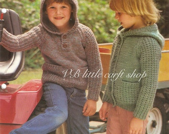 Child's hooded sweater or cardigan knitting pattern. Instant PDF download!