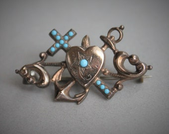 Victorian Faith Hope and Charity Persian Turquoise Religious Brooch