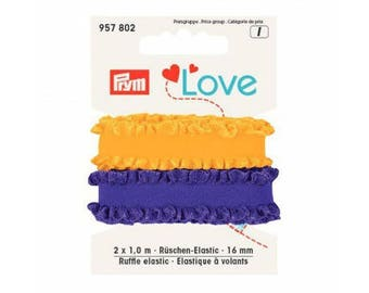Lilac and yellow elastic ruffle 2 x 1 m
