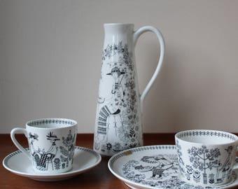 Vintage Arabia Finland Emilia Collection, Raija Uosikkinen Design, Demitasse Cup & Saucer, Pitcher
