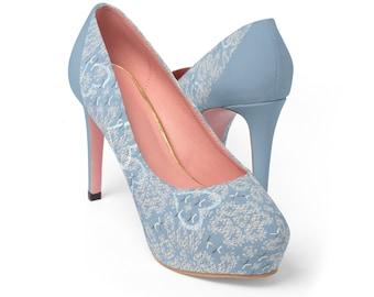Pastel Blue Heart Lace Printed Wedding Bridal WomenS Platform Heels Shoes Pumps