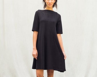 Eva Dress, cotton jersey, modern style, black dress- made to order, one of a kind