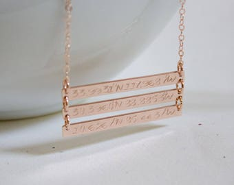Triple Bar Necklace//CoordinateS Bar Necklace// Three Bar Nameplate//Custom GPS Coordinates//Engraved/Personalized Bar Necklace/Gift for Mom