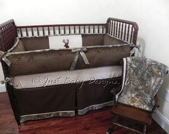 Custom Baby Crib Bedding Set Paxton -  Boy Baby Bedding, Deer Crib Bedding, Camo Baby Bedding, Brown and Tan with Camouflage and Deer Design