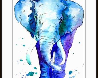Elephant Watercolor Art Watercolor Painting Art Print  Fall Home Decor and Wall Art